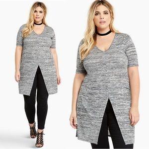 TORRID Marled Gray Split-Front Tunic Dress SZ 1